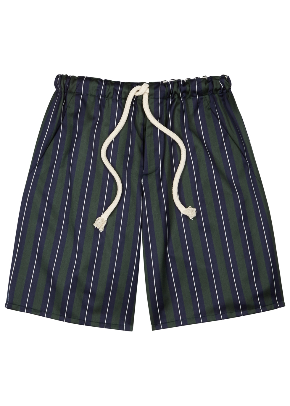 Green Striped Wool-Blend Shorts
