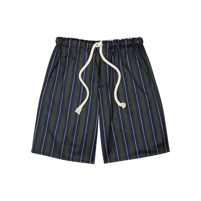 LOEWE Green Striped Wool-blend Shorts