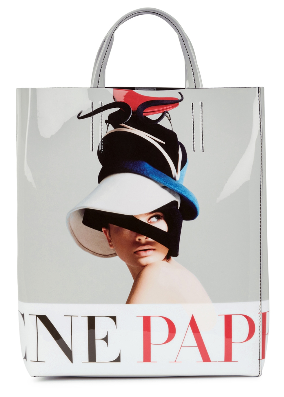 ACNE STUDIOS BAKER PRINTED PATENT LEATHER TOTE