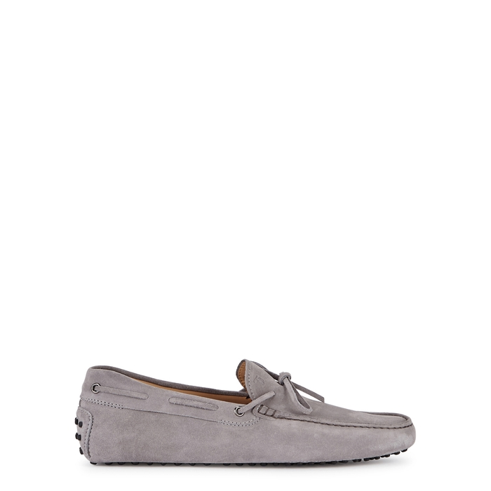 Tod's Gommino Light Grey Suede Driving Shoes