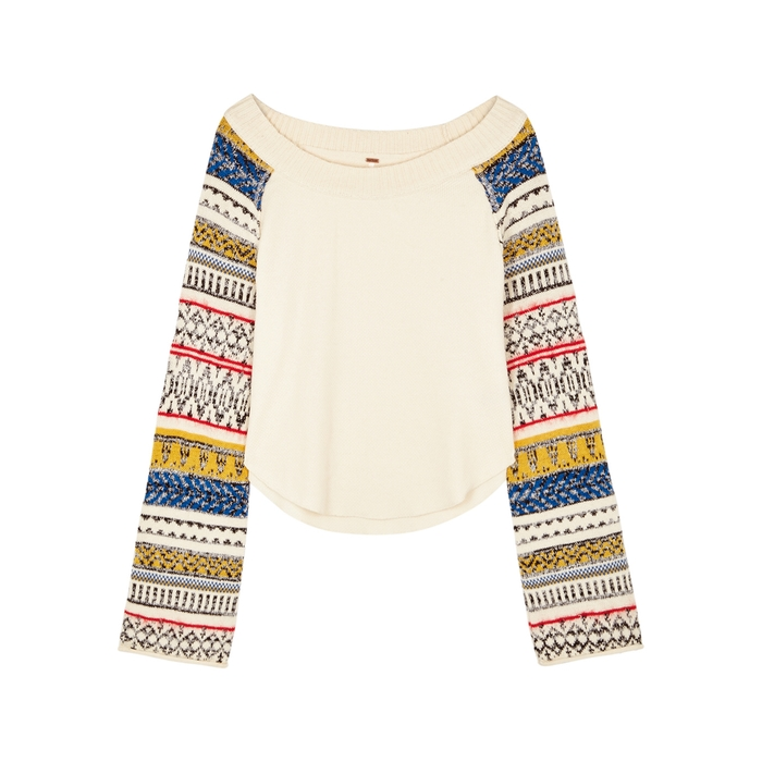 Free People FAIRGROUND THERMAL COTTON-BLEND JUMPER