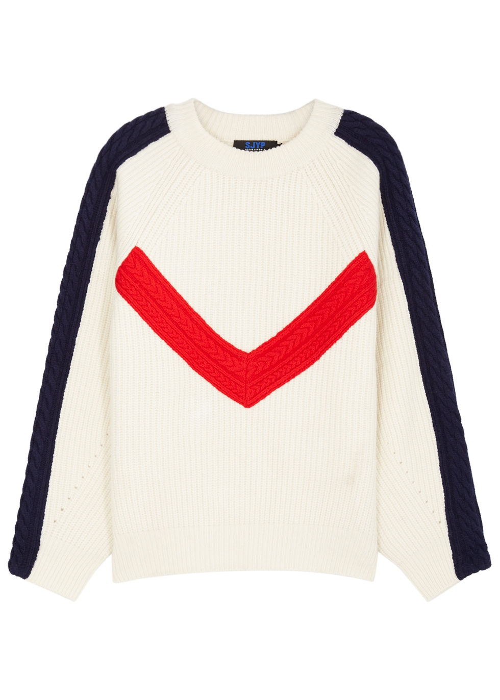 Cable-Knit Ribbed Wool Sweater, Ivory