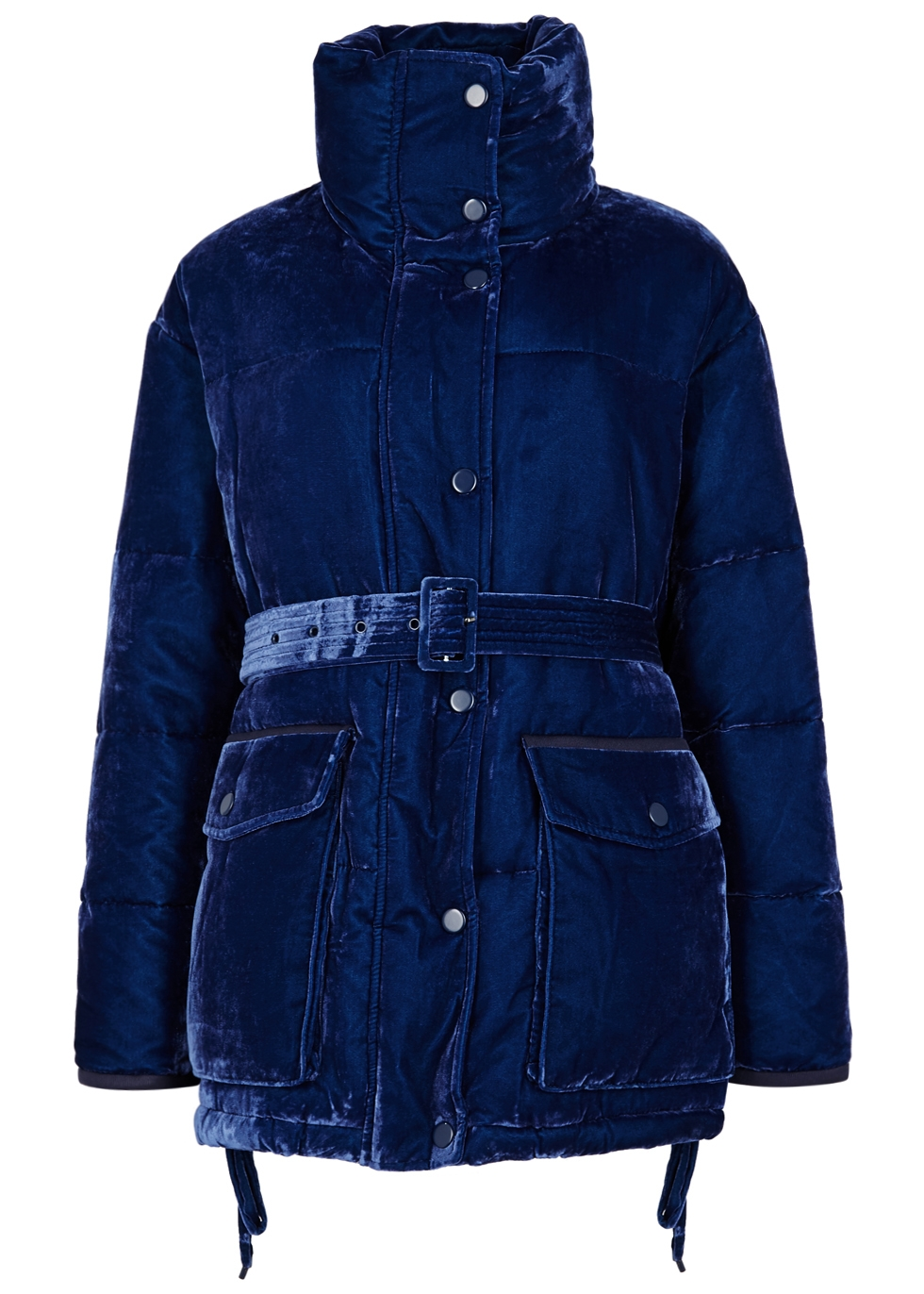 SJYP Blue Quilted Velvet Jacket in Dark Blue