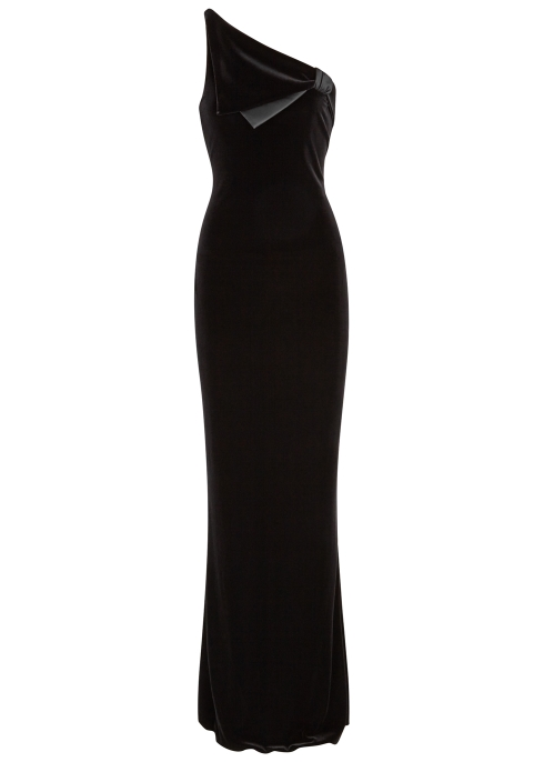 Emporio Armani Black one-shoulder stretch-velvet gown - Harvey Nichols