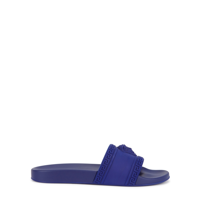 Versace Dark Blue Medusa Rubberised Sliders