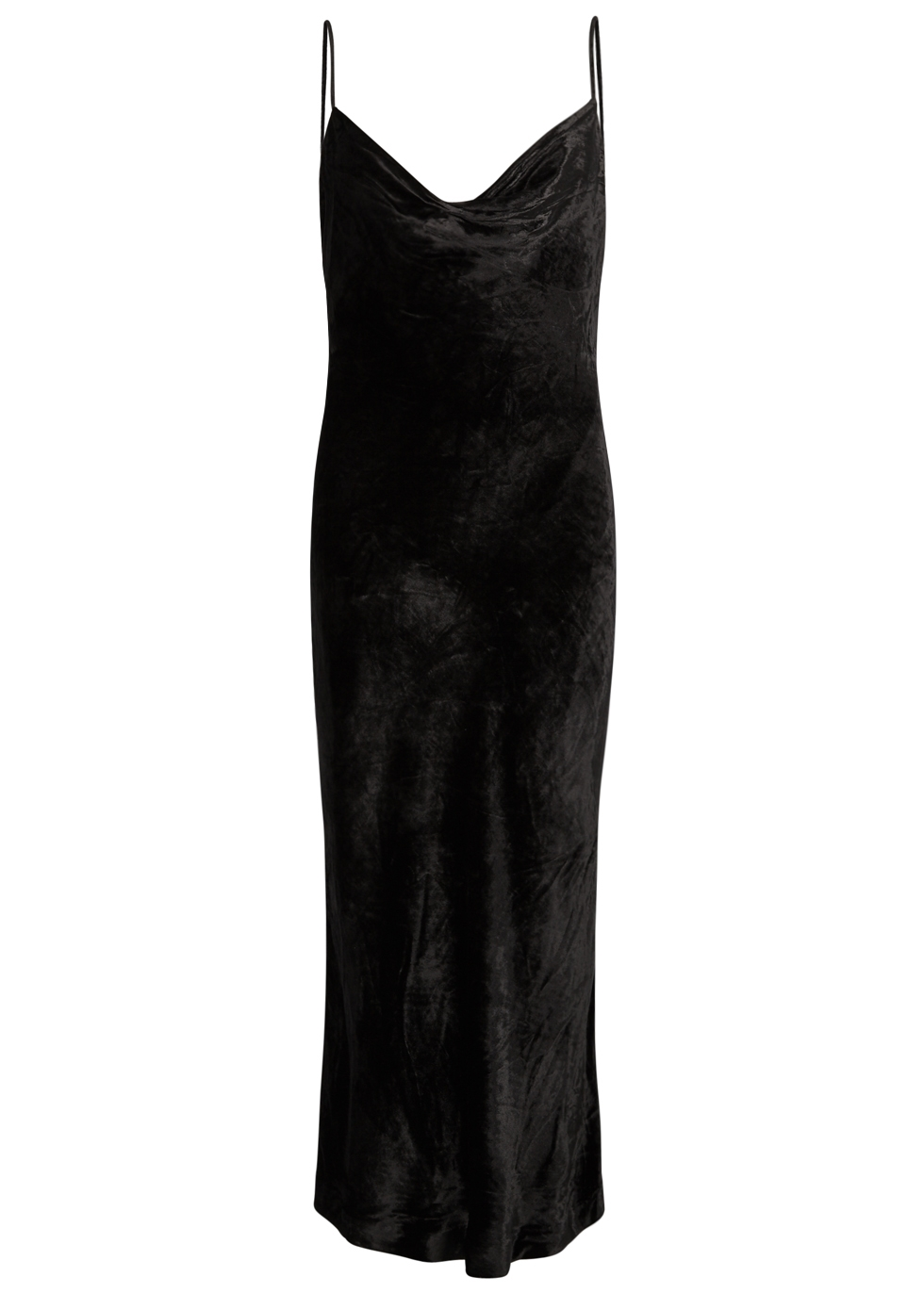 REBECCA VALLANCE KARA BIAS-CUT VELVET SLIP DRESS