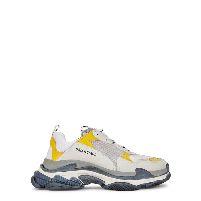 Balenciaga Triple S Bicolour Mesh, Leather And Nubuck Trainers