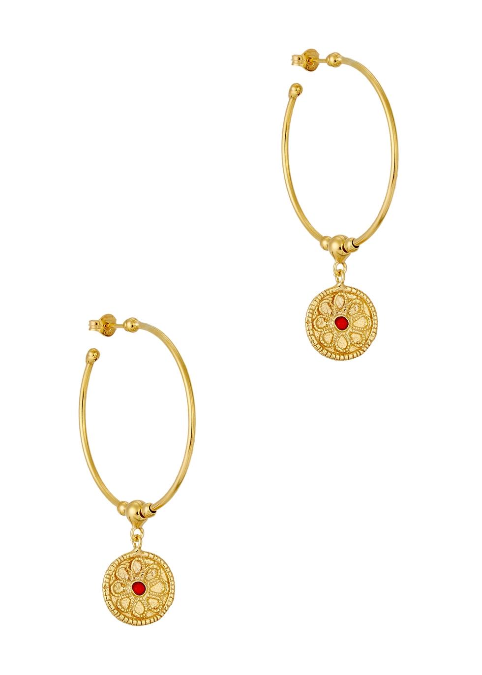 SORU JEWELLERY TREASURES 18CT GOLD-PLATED HOOP EARRINGS