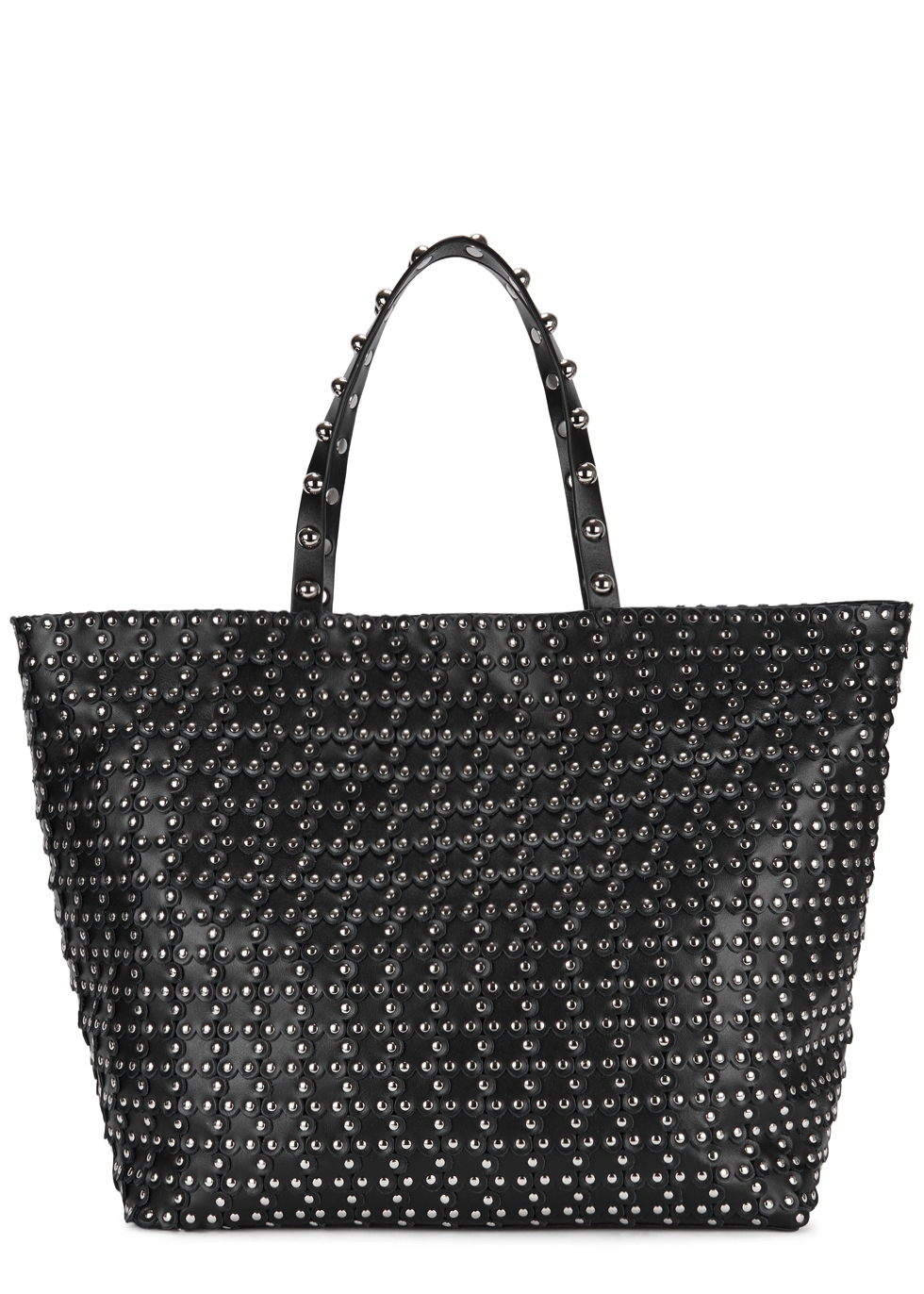 Red V Puzzle Studded Leather Tote Bag in Black