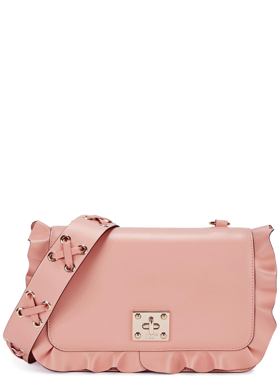 Rock Ruffles Blush Leather Shoulder Bag, Rose