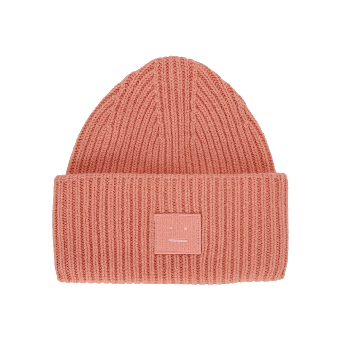 Acne Studios Pansy Face Rose Wool Beanie