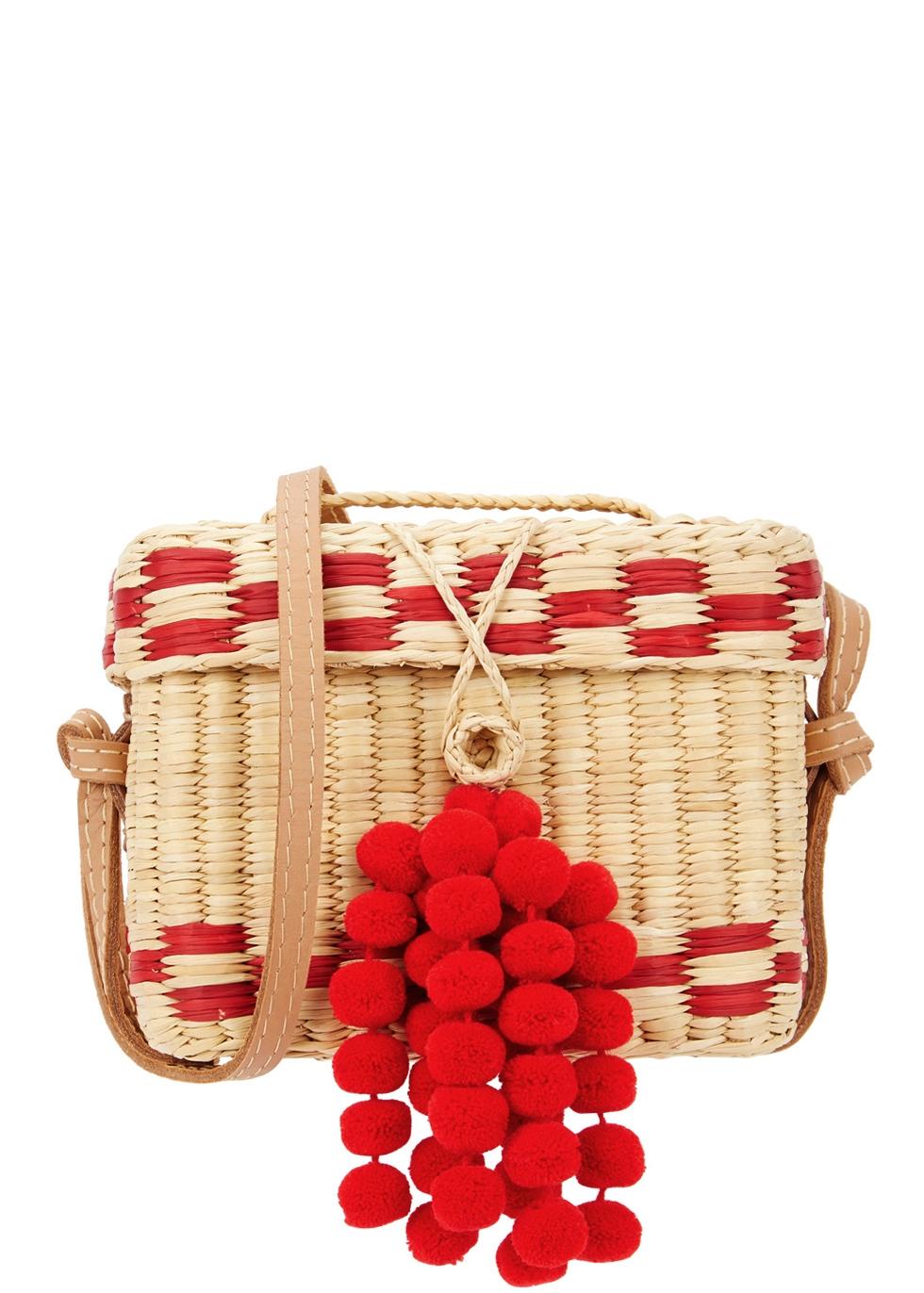 NANNACY ROGE SMALL POMPOM BASKET BAG