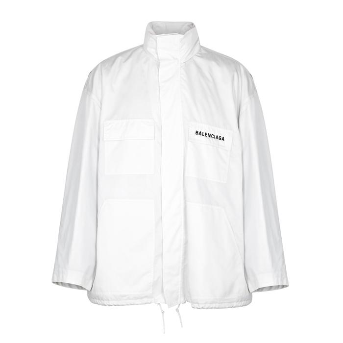 Balenciaga White Logo-embroidered Shell Jacket