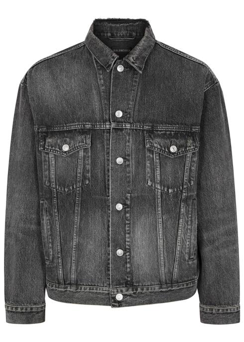 bdb746291a8 Balenciaga Distressed logo-print denim jacket - Harvey Nichols