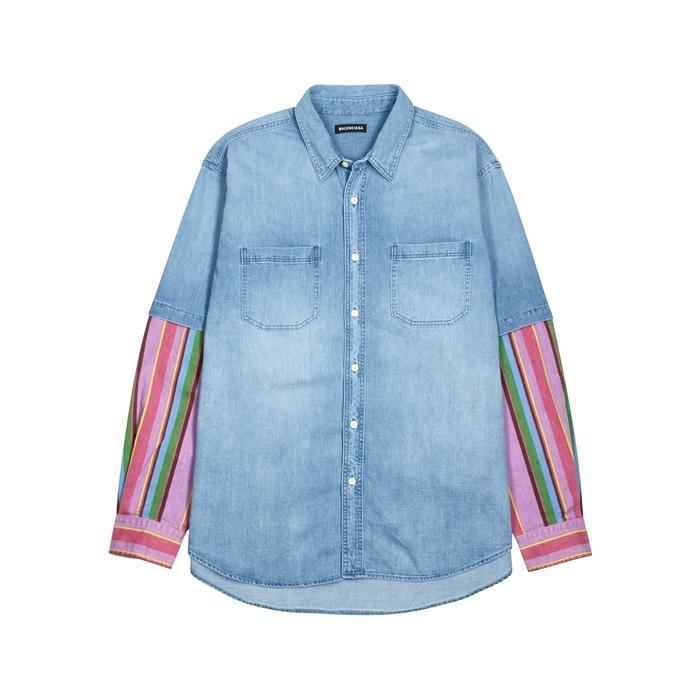 Balenciaga Blue Striped Denim Shirt