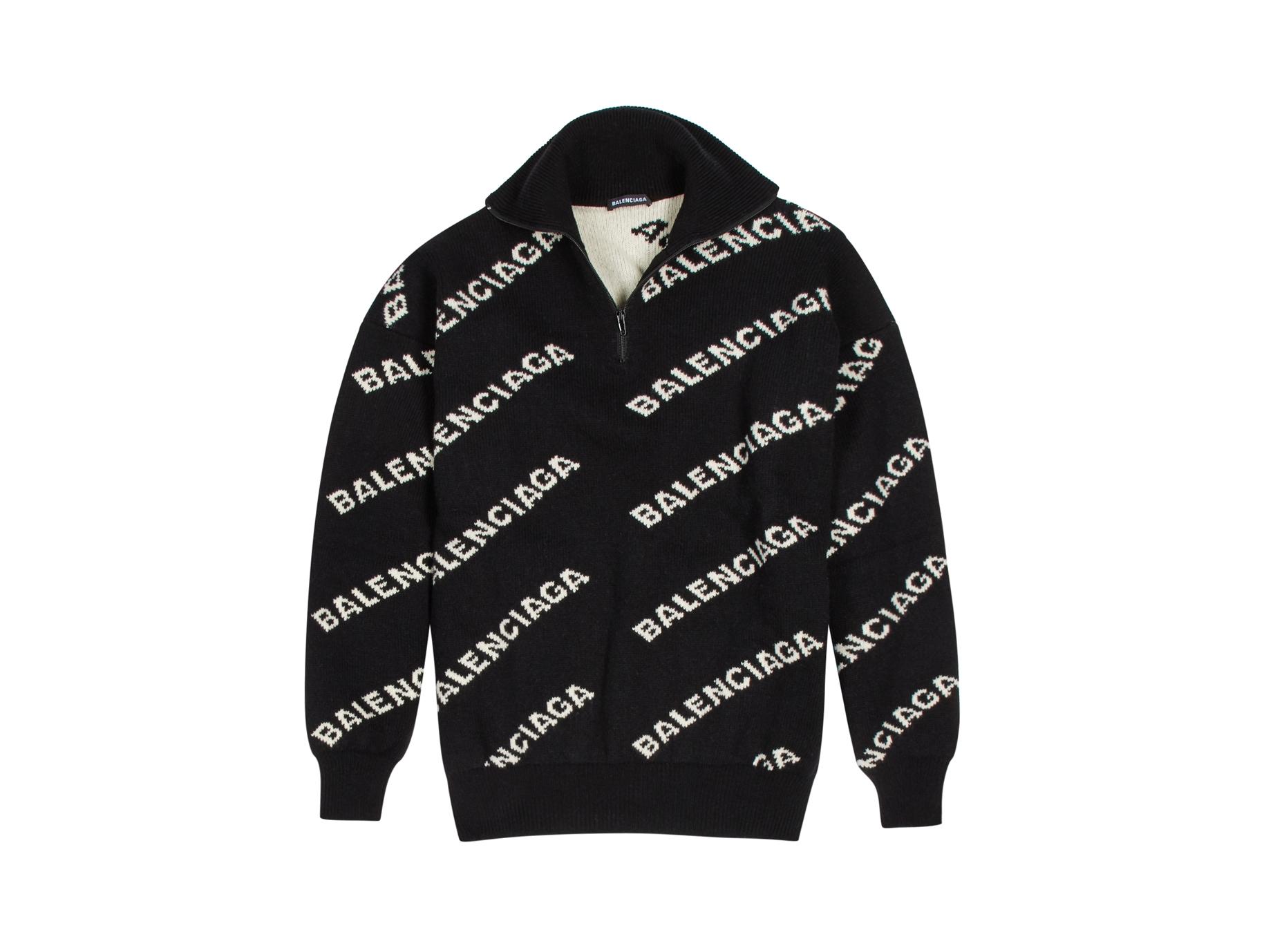 d5a044a5632ba Balenciaga Logo-intasia wool-blend jumper - Harvey Nichols
