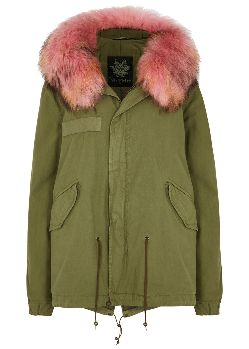 d0c4f890c07 Army green fur-trimmed cotton-blend parka Army green fur-trimmed cotton-blend  parka. Mr   Mrs Italy
