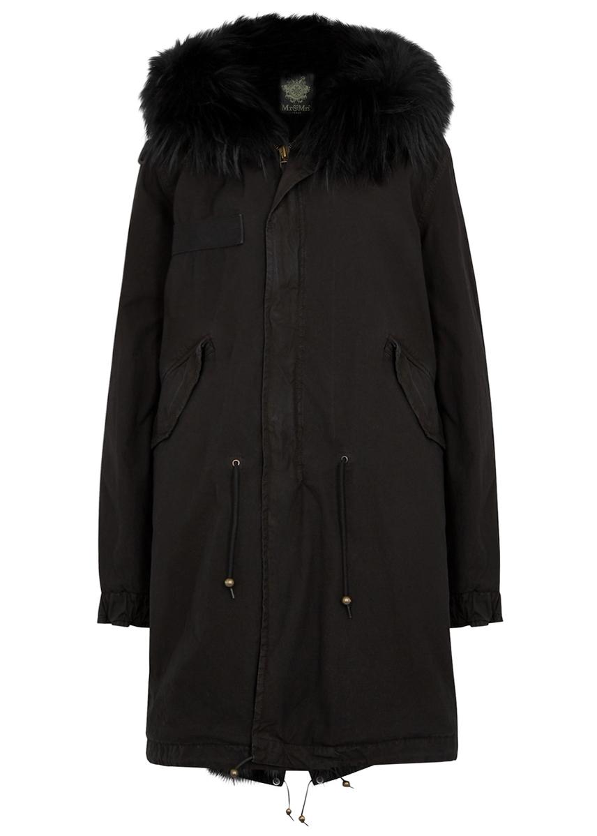 77ef6bb0477 Black fur-trimmed cotton parka Black fur-trimmed cotton parka. Mr   Mrs  Italy