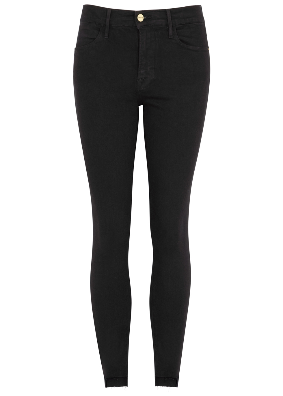 Le High Skinny Raw Stagger black jeans