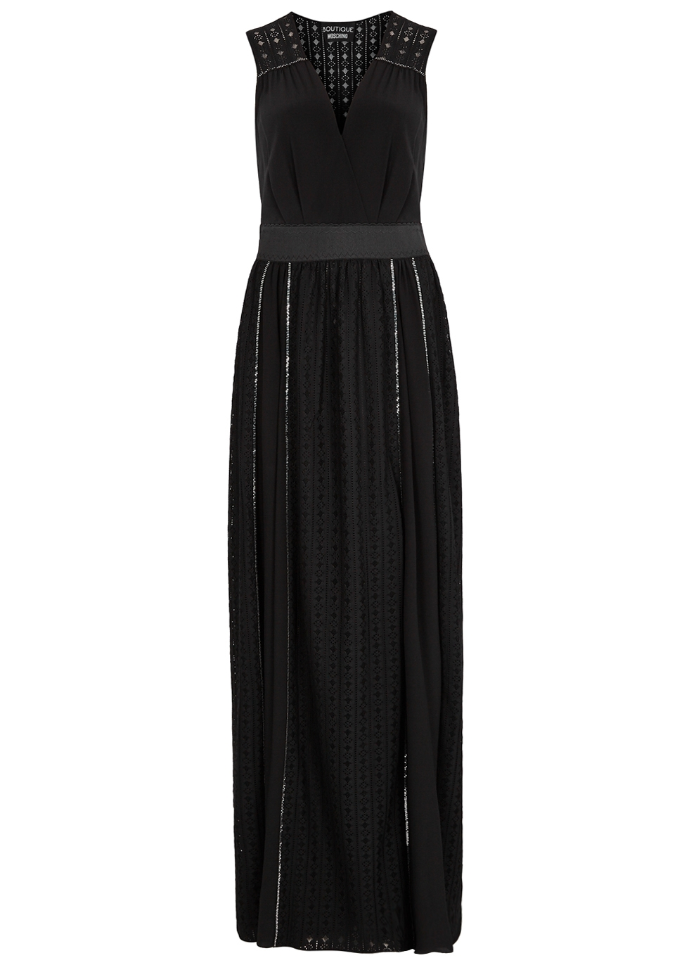 BOUTIQUE MOSCHINO BLACK CHAIN-EMBELLISHED LACE GOWN