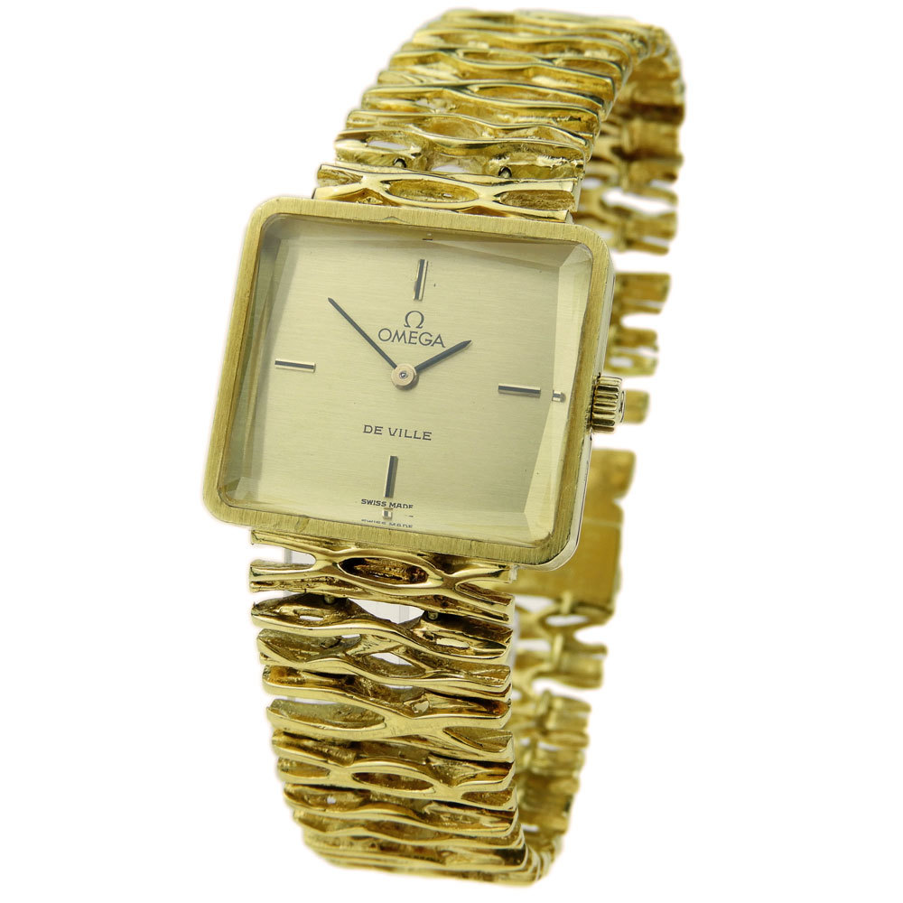 OMEGA DE VILLE LADIES VINTAGE 18K GOLD WRISTWATCH