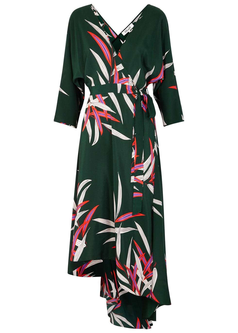 Eloise Wrap-Effect Printed Silk Crepe De Chine Midi Dress in Dark Green