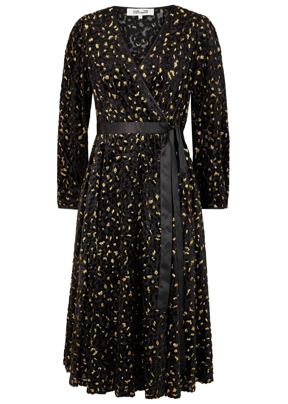 Satin-Trimmed Metallic Flocked Chiffon Wrap Dress in Black