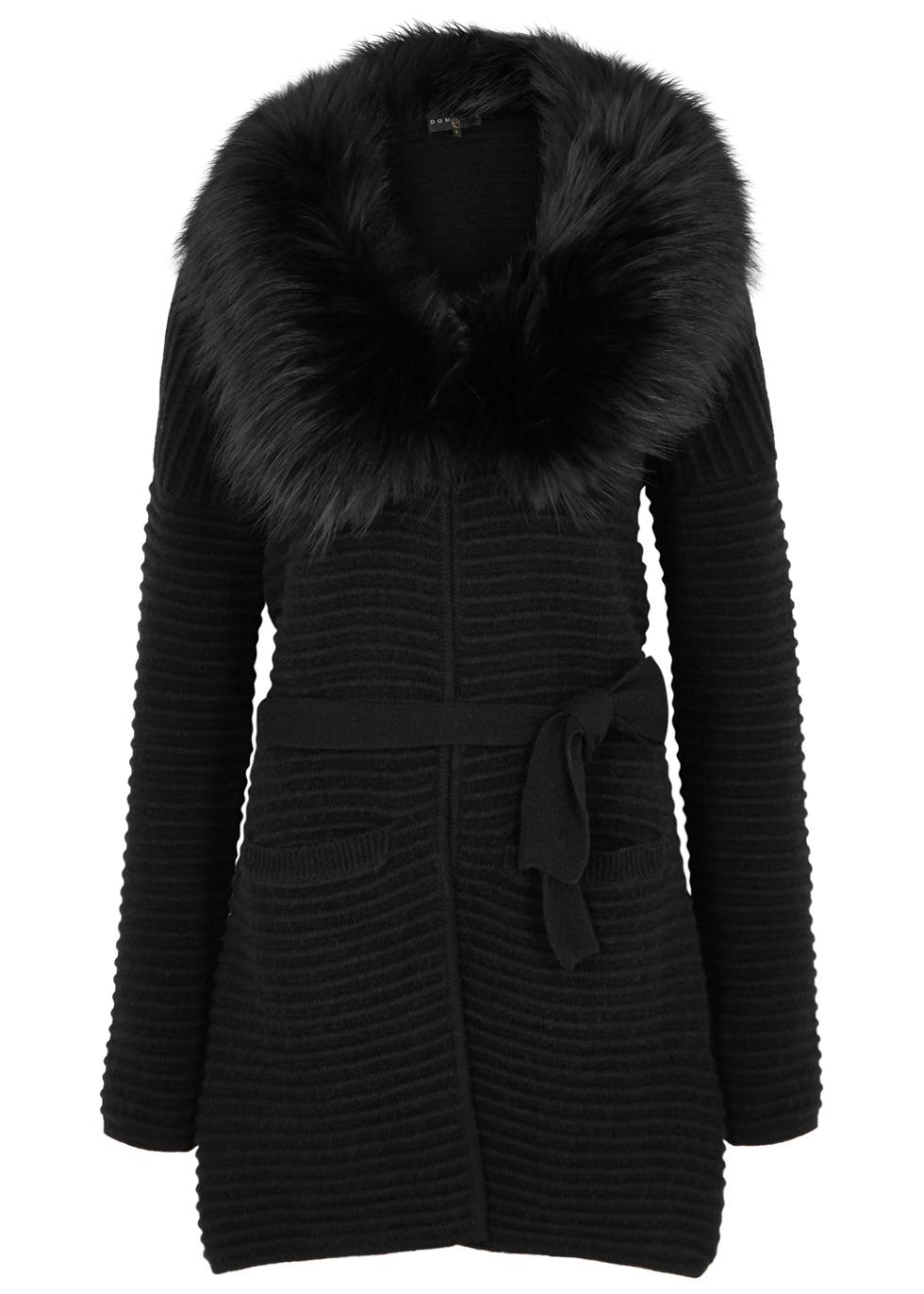 DOM GOOR Black Fur-Trimmed Wool-Blend Cardigan