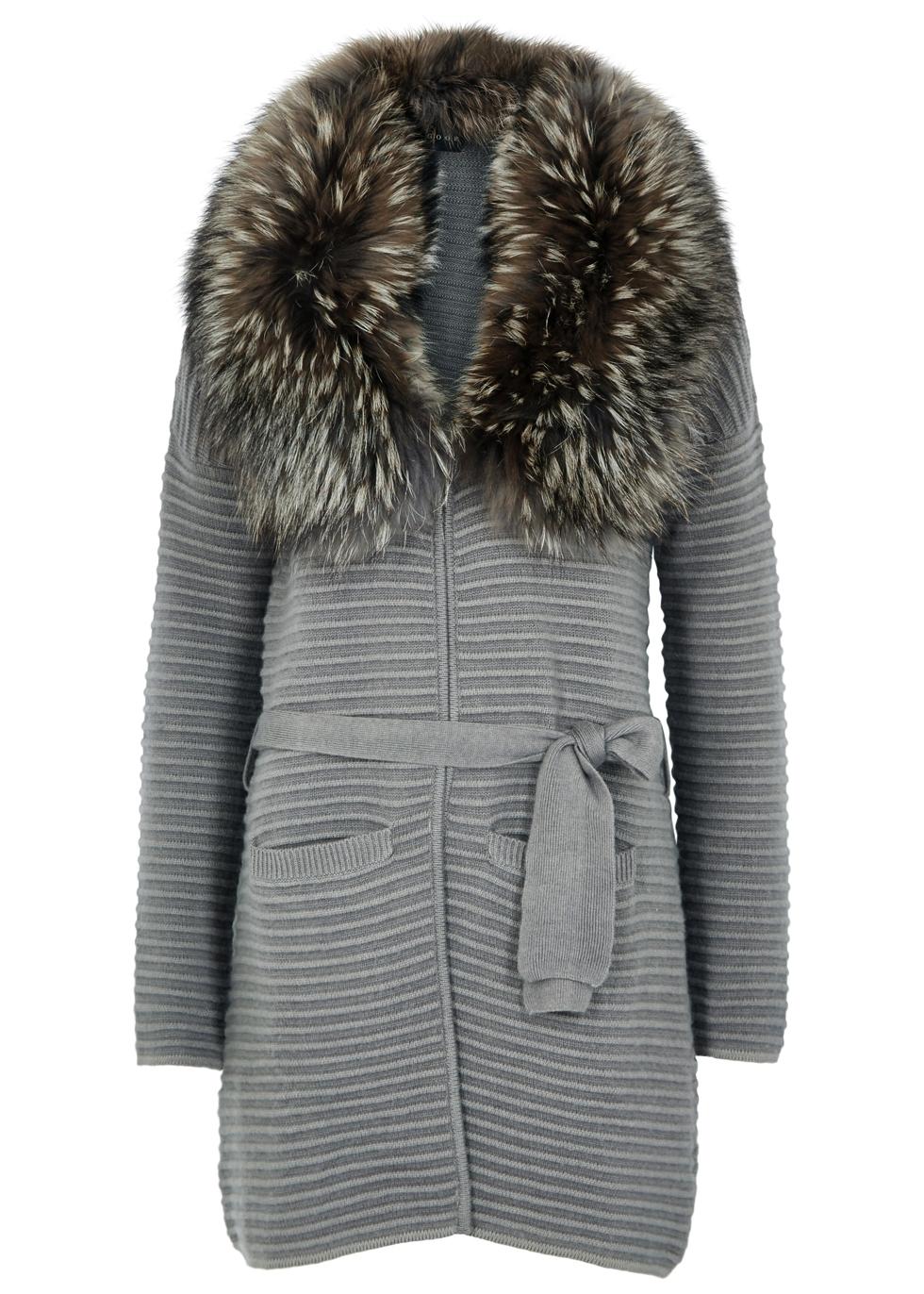 DOM GOOR Grey Fur-Trimmed Wool-Blend Cardigan