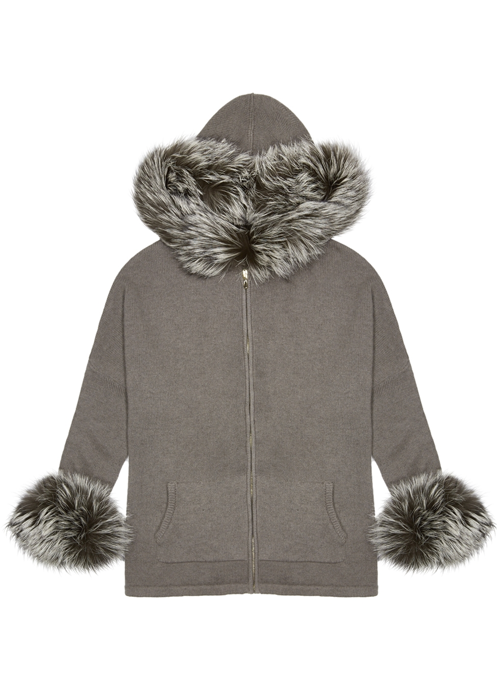 DOM GOOR Charcoal Fur-Trimmed Cashmere Cardigan in Grey