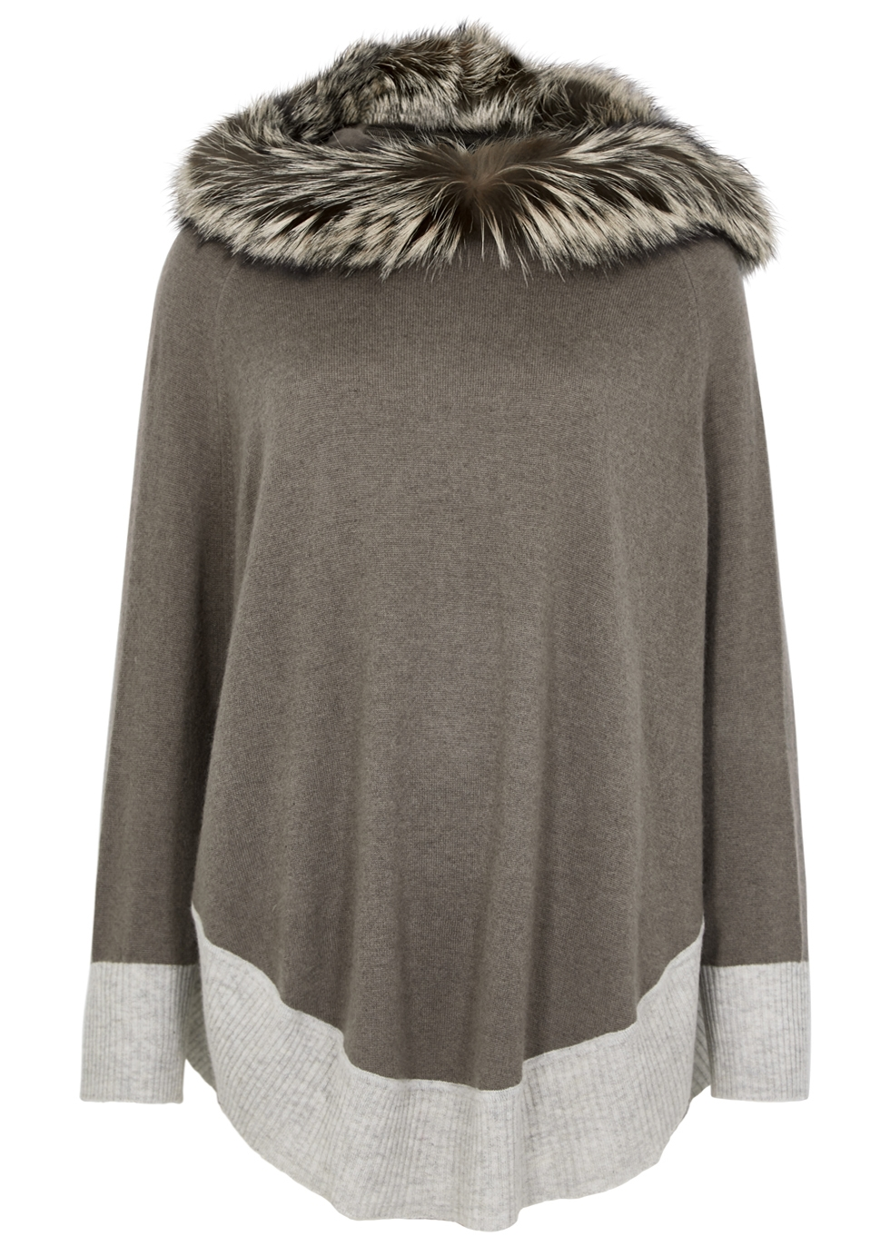 DOM GOOR Fur-Trimmed Cashmere Poncho in Grey