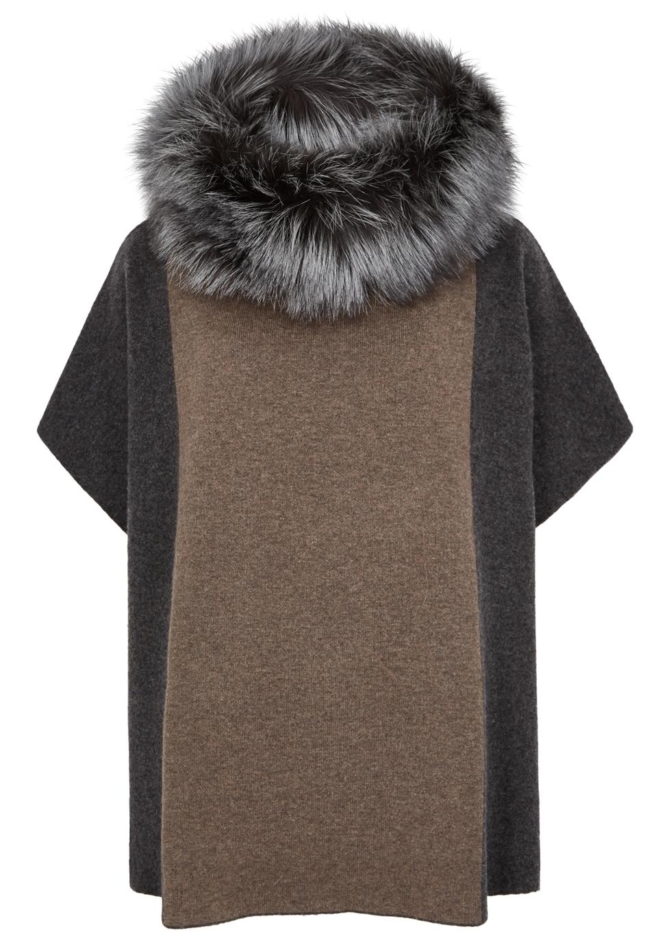 DOM GOOR Fur-Trimmed Wool-Blend Jumper in Charcoal