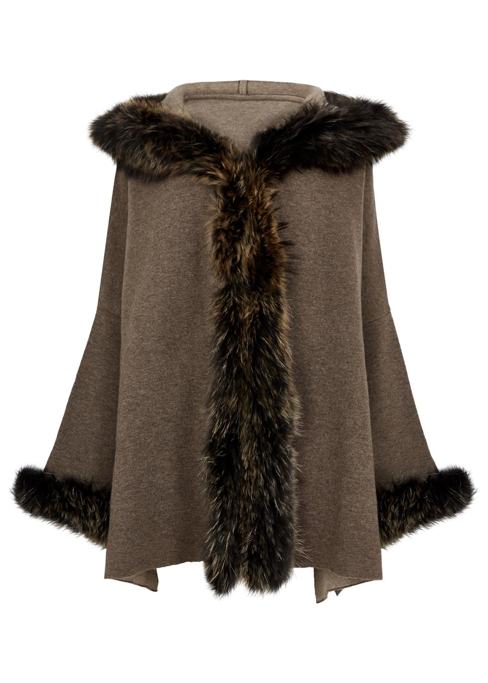 DOM GOOR Brown Fur-Trimmed Wool-Blend Cardigan