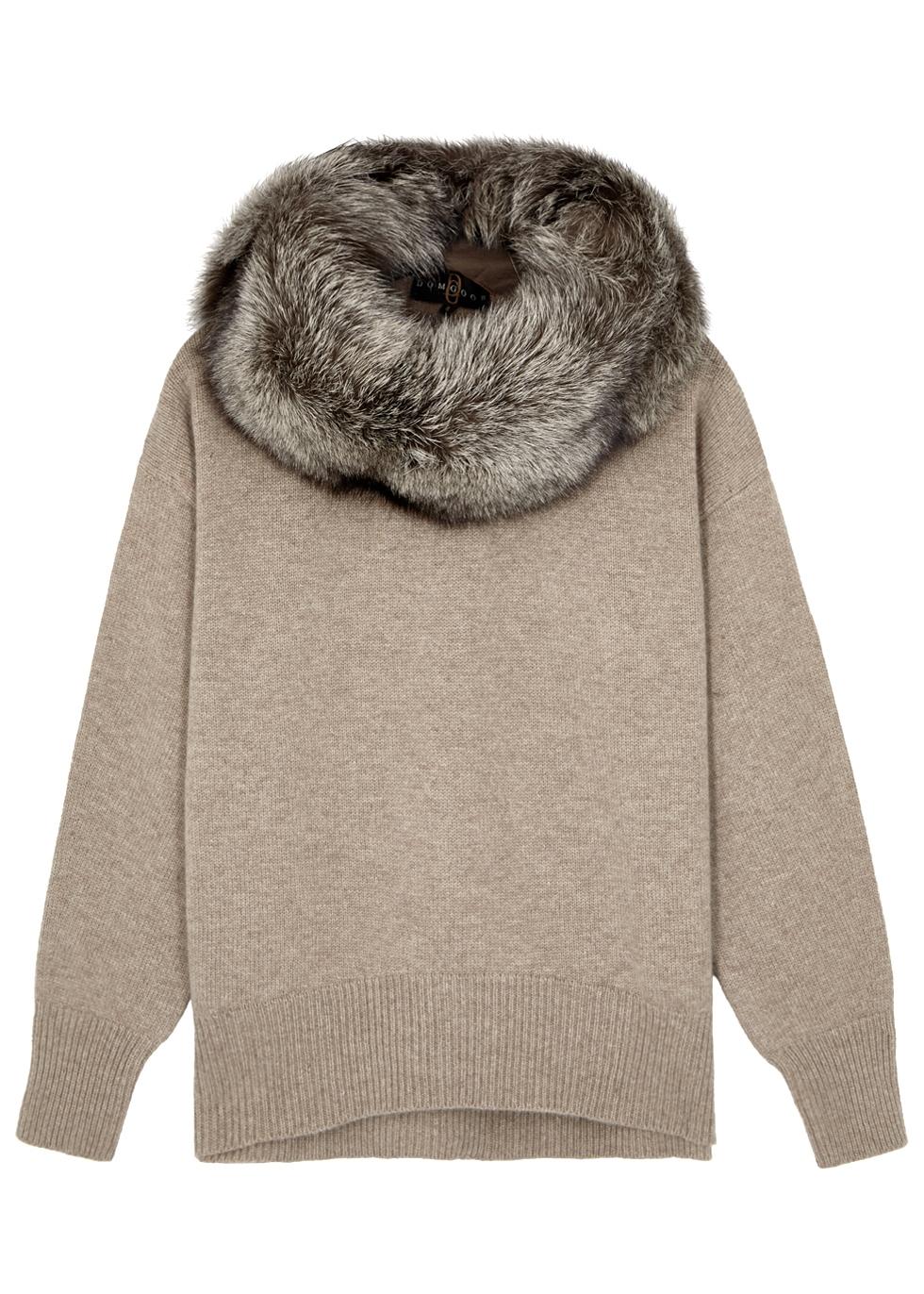 DOM GOOR Fur-Trimmed Wool-Blend Jumper in Light Grey