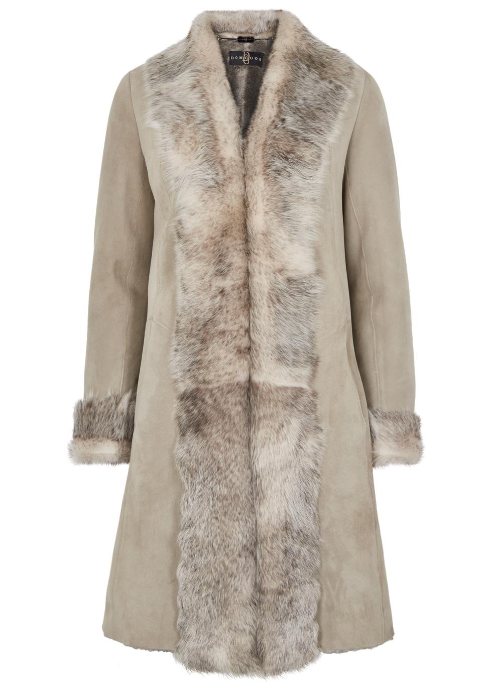 DOM GOOR Light Grey Fur-Trimmed Shearling Coat
