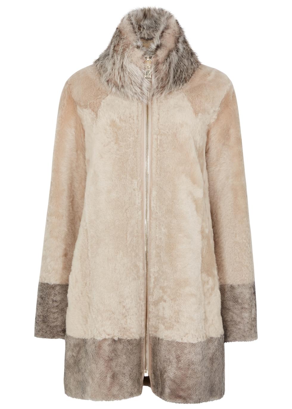 DOM GOOR Almond Reversible Leather Coat in Beige