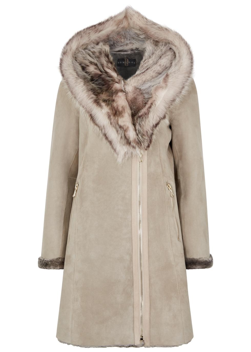 DOM GOOR Grey Fur-Trimmed Shearling Coat in Light Grey