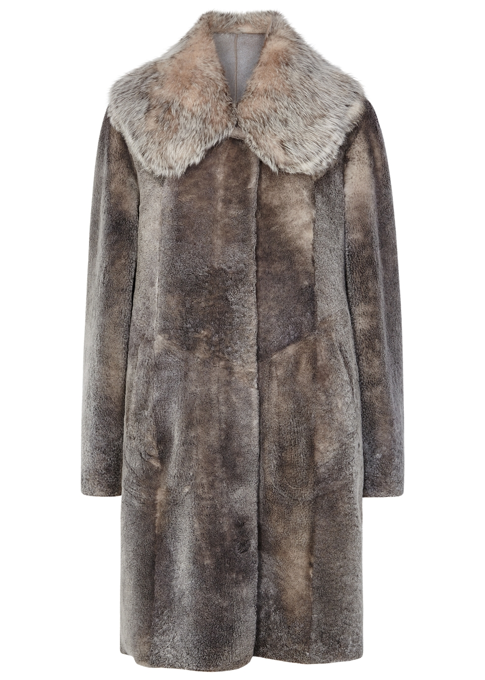 DOM GOOR Grey Fur-Effect Shearling Coat