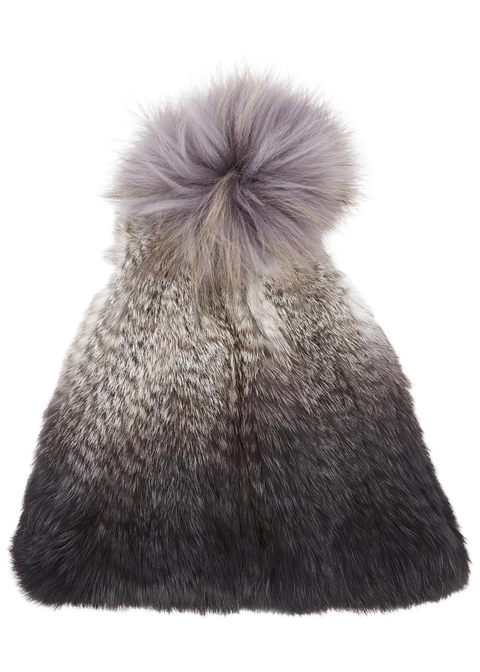 DOM GOOR Grey Dégradé Fur Beanie