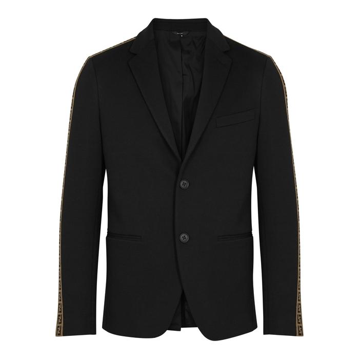 Fendi Black Logo-intarsia Cotton-blend Blazer