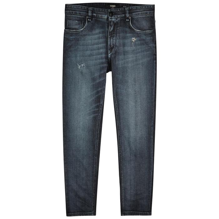 Fendi Two-tone Slim-leg Jeans