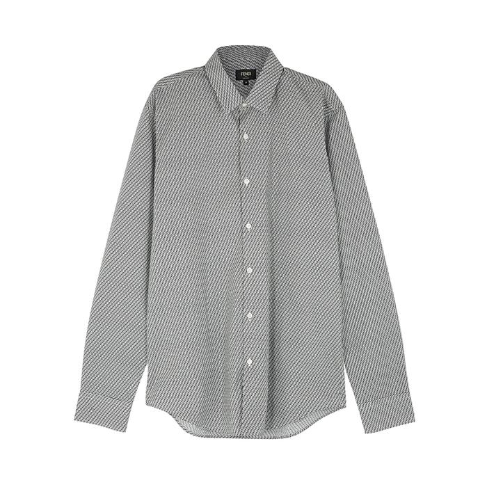 Fendi Black Logo-print Cotton Shirt