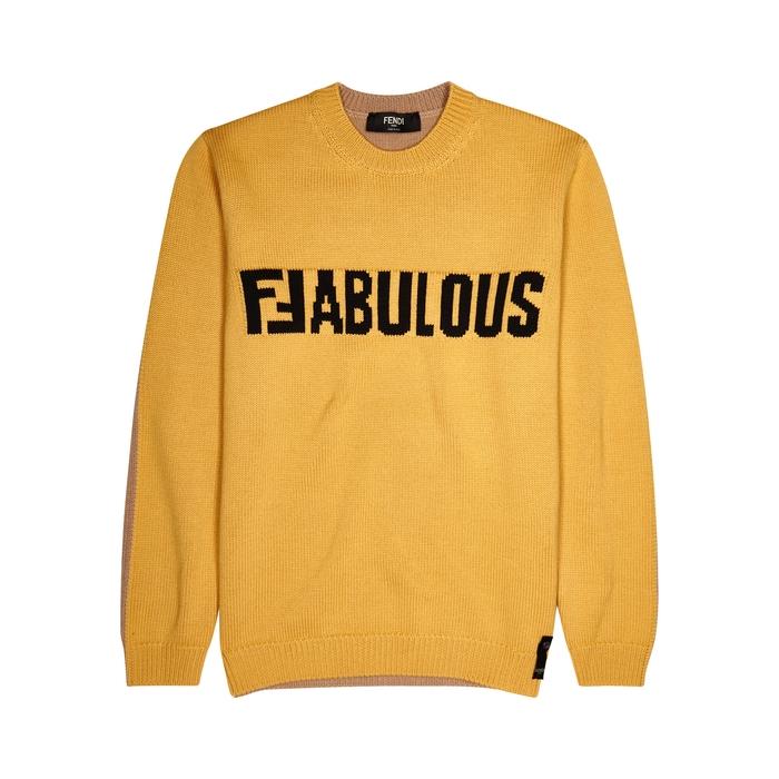 Fendi Colour-block Intarsia Wool Jumper