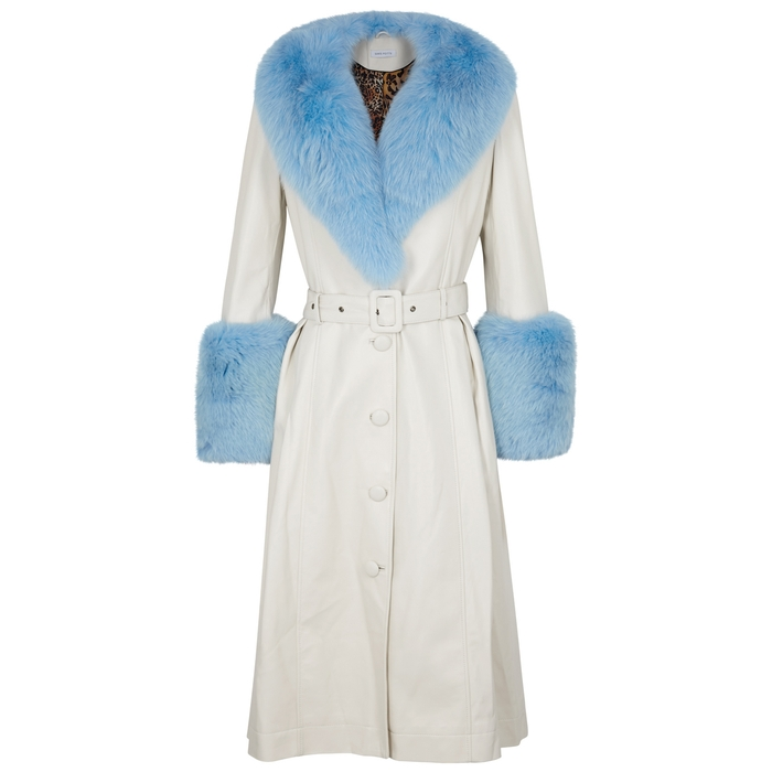 Saks Potts FOXY WHITE FUR-TRIMMED LEATHER COAT