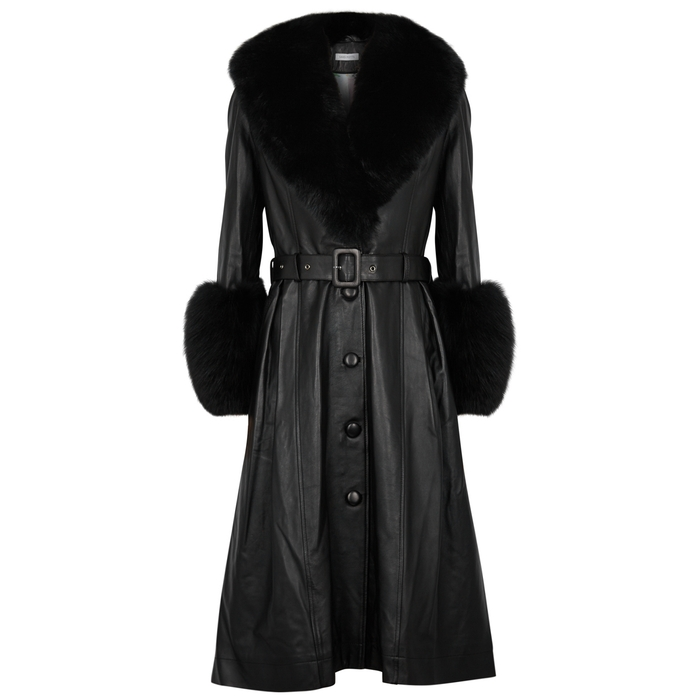 Saks Potts FOXY BLACK FUR-TRIMMED LEATHER COAT
