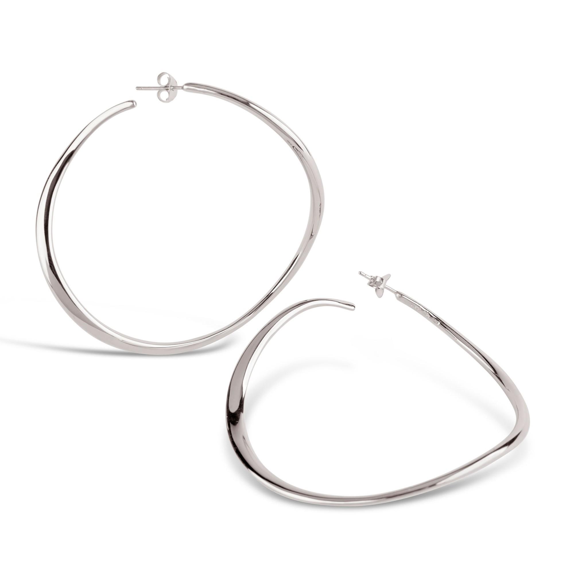 DINNY HALL SILVER WAVE XL HOOP EARRINGS