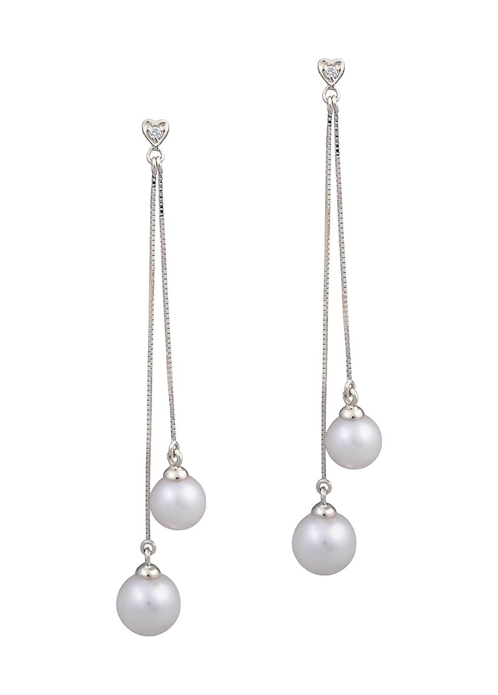 KOJIS White Pearl Tassle Earrings