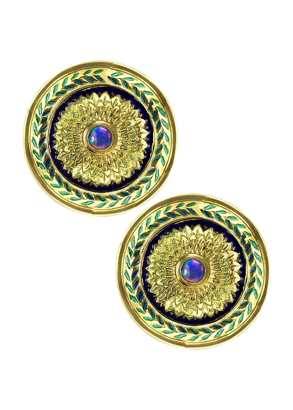 KOJIS Vintage Opal Sheild Earrings