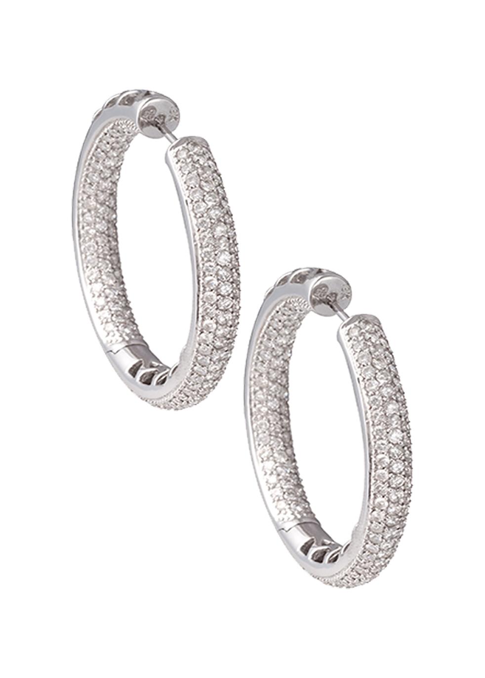 KOJIS LARGE DIAMOND HOOP EARRINGS