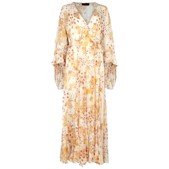 De La Vali OSWALDA PRINTED SILK CHIFFON WRAP DRESS